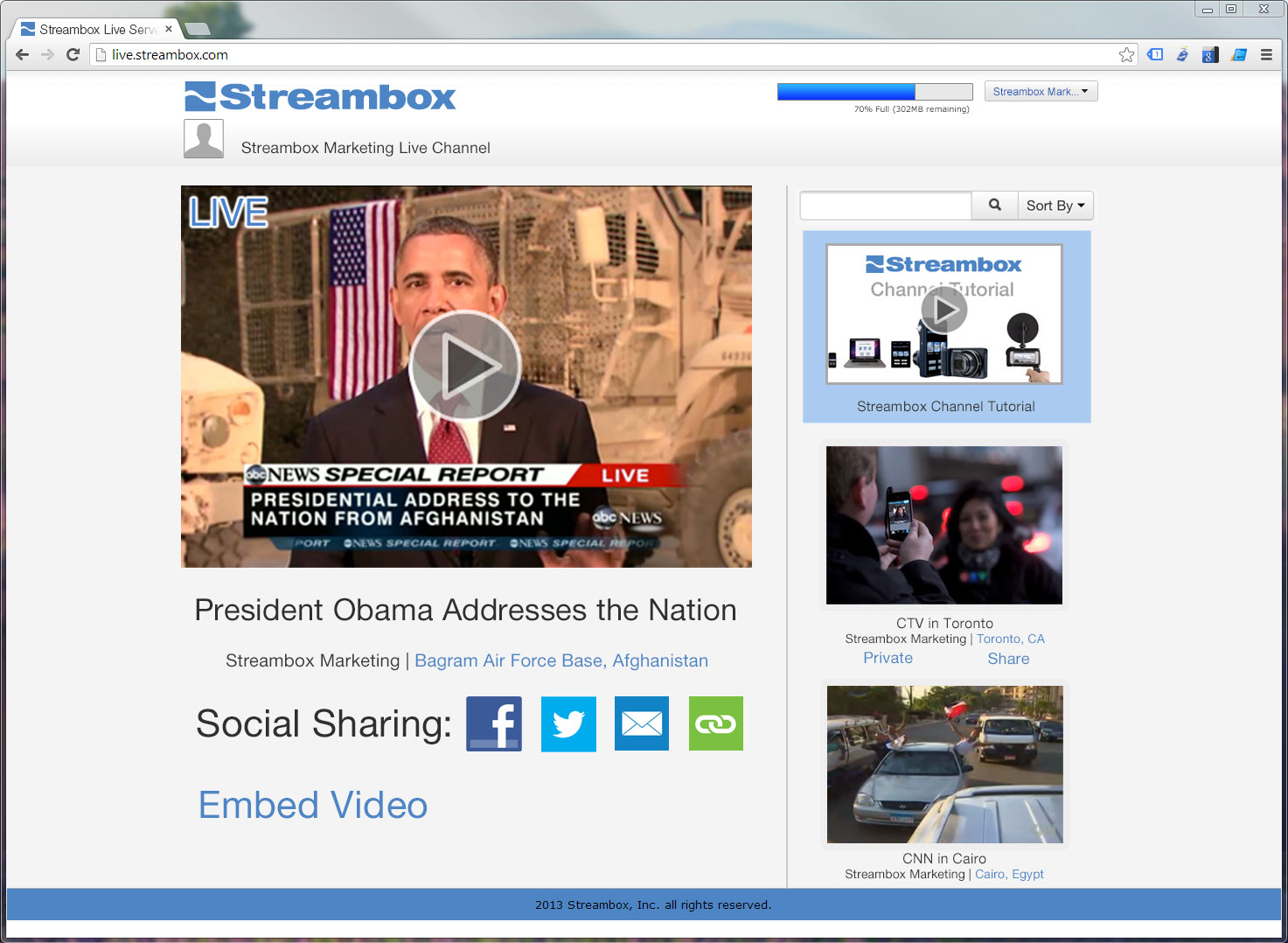 Streambox Live Channel Main Page