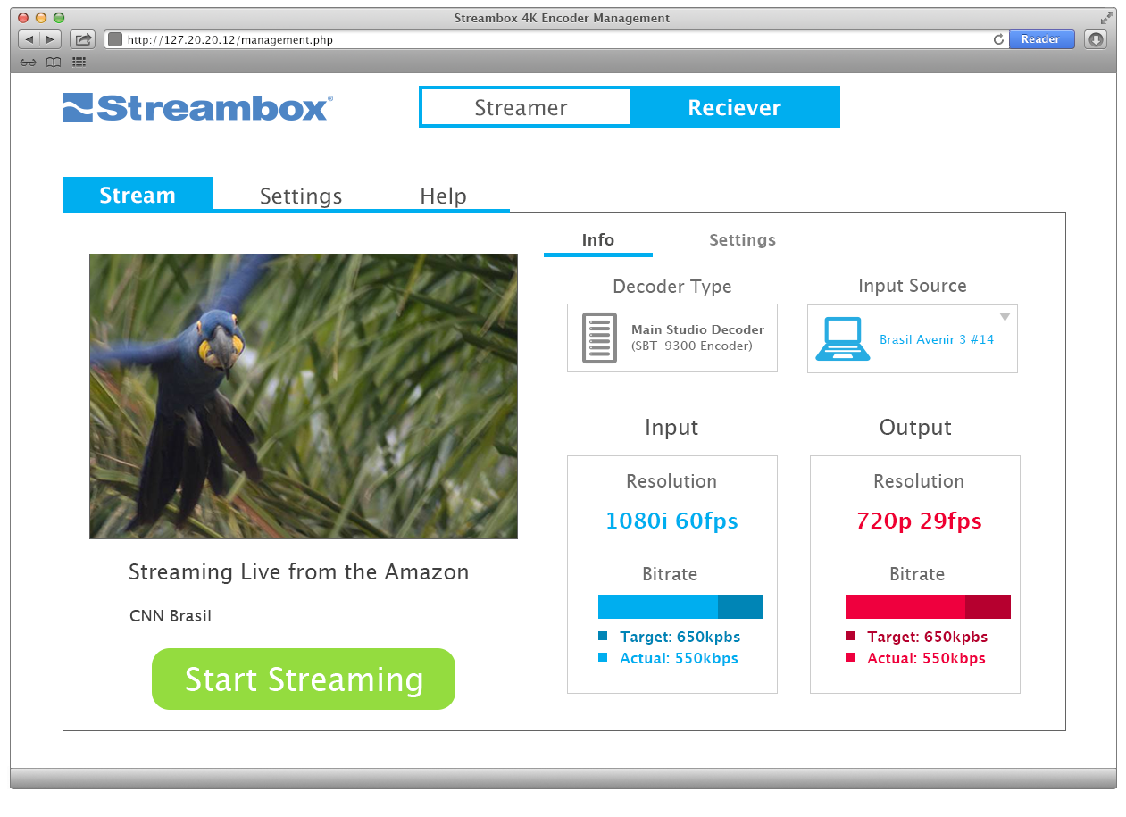 Streambox Decoder Web Interface Prototype